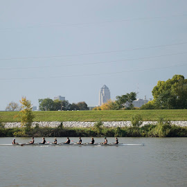 Rowing with the Des Moines Skyline in Sight by Roy Cazares - Sports & Fitness Watersports ( skyline, rowing, regatta, des moines )