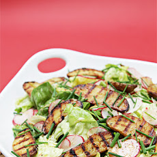 Boston Lettuce and Radish Salad with Grilled Fingerling Potatoes and Lemon-Garlic Vinaigrette