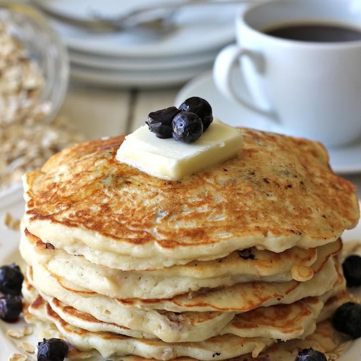 Blueberry Oatmeal Yogurt Pancakes Recipe | Yummly