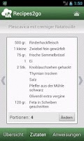 Screenshot of Recipes2go - Rezepte unterwegs