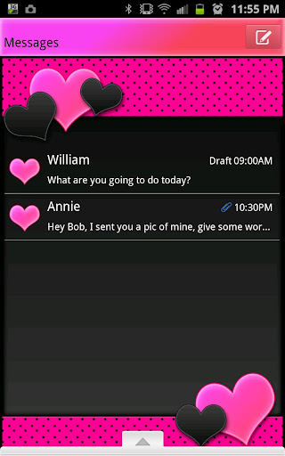 GO SMS - Hot Pink Hearts