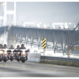 Police motorcycle pic bay bridge md. by Tammy Hardy - Transportation Motorcycles
