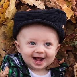 I'm a Big Boy by Michael Wolfe - Babies & Children Babies ( baby portrait, child portrait, babiy, autumn colors, baby boy,  )