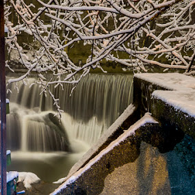 Take Me To The Falls by Aaron Krosner - Landscapes Waterscapes ( raw, water, directional, waterfall, snow storm, baltimore, storm, jones falls, pure, leading lines, graffiti, snow, maryland, night, long exposure, chaotic lines )