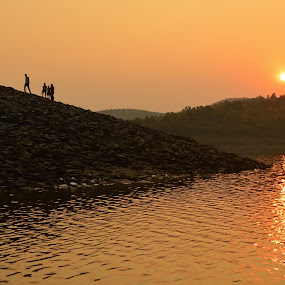 hundred miles away from home by Jayanti Chowdhury - Landscapes Sunsets & Sunrises ( jharkhand, hills, sunset, burudi, lake, india, golden hour )
