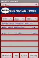 Screenshot of WRTA Bus Tracker Pro