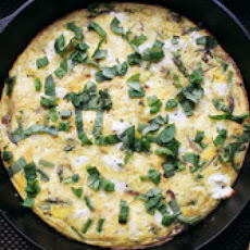 Skillet Spring Frittata with Asparagus and Goat Cheese