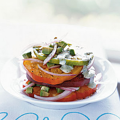 Heirloom Tomato and Avocado Stack