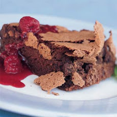 Double-Chocolate Soufflé Torte with Raspberry Sauce