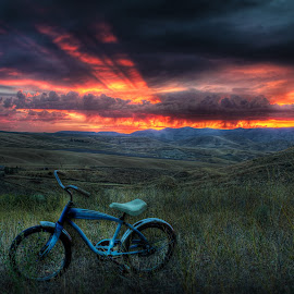 Sunset Bike by Eric Demattos - Transportation Bicycles ( wheat, clouds, sunset, blue bike, storm )