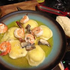 Ravioli with Prawns in a Garlic Butter Sauce