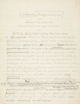 "Page of the manuscript of  ""The Gread Solution. Magnissima Charta. Essay on Evolutionary and Constructive Pacifism"", Henri La Fontaine's major book published in 1916."