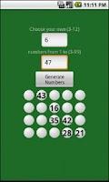 Screenshot of Lottery Numbers