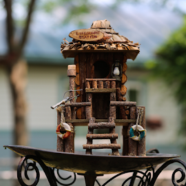Bird House by Nancy Merolle - Artistic Objects Other Objects ( bird house, house for birds, wooden house, artistic objects, miniature house, house, lifeguard station )