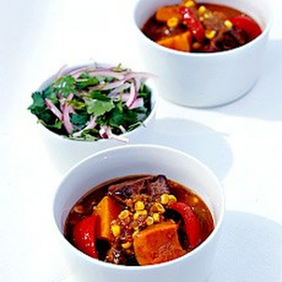 Latin American Beef Stew with Marinated Red Onion Salad
