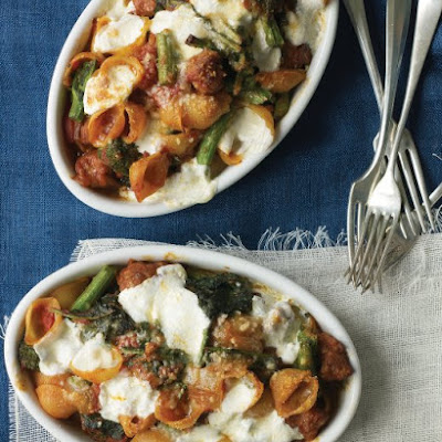 Sausage, Mozzarella, and Broccoli Rabe with Shells