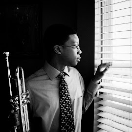 By all means by Gary Duncan - People Musicians & Entertainers ( natural light, blackandwhite, trumpet, musician, portrait )