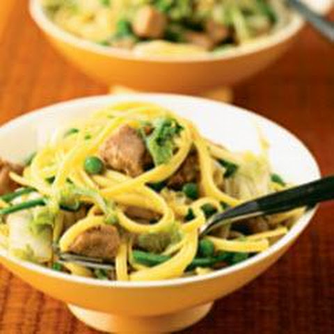Linguine With Pork, Greens And Peas