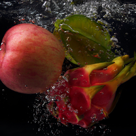 Mix and Splash by Jaaziel Lim - Food & Drink Fruits & Vegetables ( fruit, splash, apple, dragon, star )