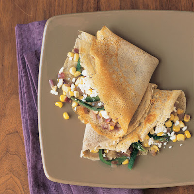 Buckwheat Crepes with Corn and Roasted Poblano Chiles