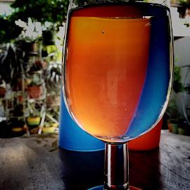 Orange-blueberry juice by Janette Ho - Artistic Objects Glass ( blue, orange. color )