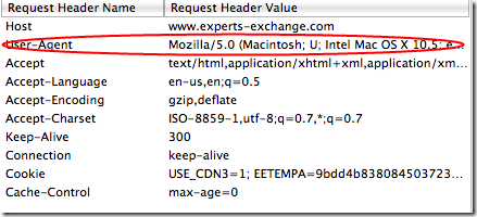 Request to Experts Exchange using normal (default) user agent.