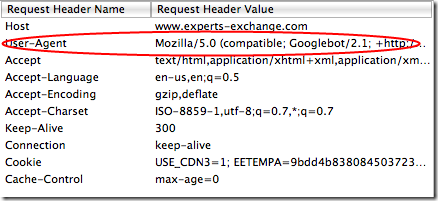 Request to Experts-Exchange using GoogleBot User Agent.