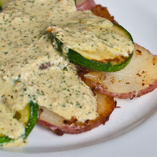 Potatoes and Summer Squash with Black Mint Sauce