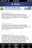 Screenshot of Official VFL App