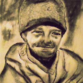 by Livia Copaceanu - Drawing All Drawing ( old man, candid, happiness, portraits )
