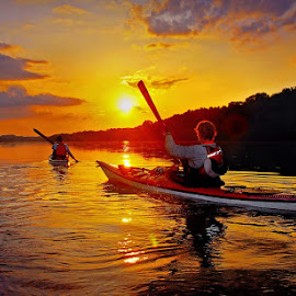 A Seneca sunset atop the Potomac by Dom J Manalo - Sports & Fitness Watersports ( sea kayaking, paddling, sunset, potomac river )