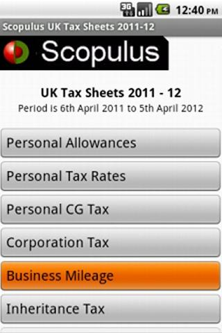 UK Tax Sheet 2011-12