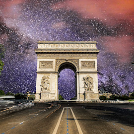 Arc de triomphe by Velizar Simeonov - Buildings & Architecture Statues & Monuments ( futuristic, velizar simeonov, cityscape, photography, triomphe, milky way, amazing, paris, arc, stars, photographer, france, night, view )