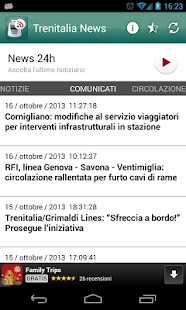 Trenitalia news - screenshot