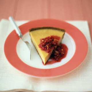 Buttermilk Pie with Raspberry Sauce