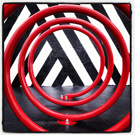 Bore Rack Art by Tanner Christman - Abstract Patterns ( abstract, parking, colors, miami, street art, bike rack, rack, circles, bike, red, metal, florida, streets )