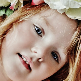 Flowers & Me by Cheryl Korotky - Babies & Children Child Portraits ( washed color, a heartbeat in time photography, child model nevaeh, flowers )