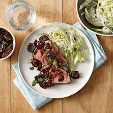 Pork Tenderloin with Roasted Cherries and Shallots