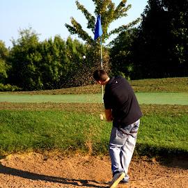 Sand Shot by Dougetta Nuneviller - Sports & Fitness Golf ( golfcourse, sand, bunker, sports, golf )
