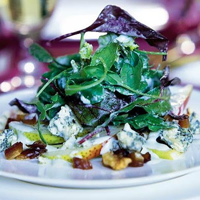 Pear, date & walnut salad with creamy Stilton dressing