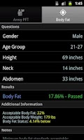 Screenshot of APFT & Body Fat Calculator