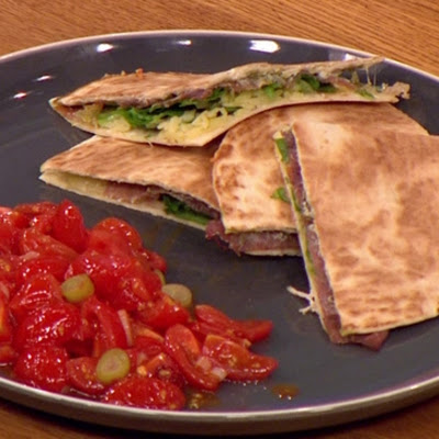 Toasted Ham And Cheese Quesadilla With Sweet Tomato Salsa