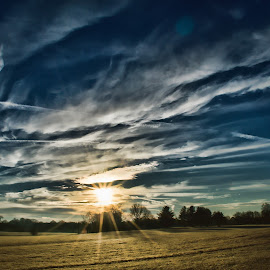 Cross in the Sky by Angela Everett - Landscapes Prairies, Meadows & Fields ( clouds, nashville, tennessee, landscape, cross,  )