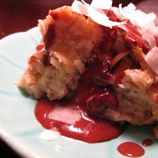 Coconut Bread Pudding with Chocolate Rum Sauce