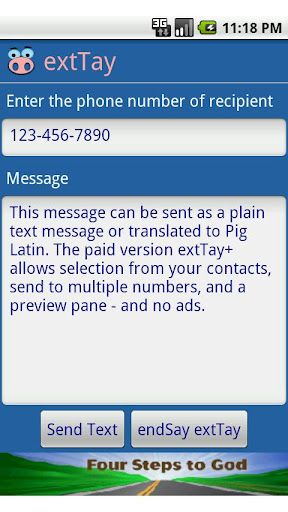 extTay - Pig Latin for SMS