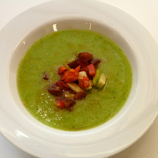 Glorious Green Gazpacho with Brandywine Garnish