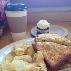 BLATO sandwich, chocolate vanilla cream cupcake and hemp milk chai.