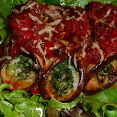 Gorgonzola Stuffed Eggplant Rolls With Mushroom Tomato Sauce