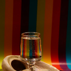 wine glass by Helly Maree - Artistic Objects Glass ( water, mirror, shell, glass, rainbow )