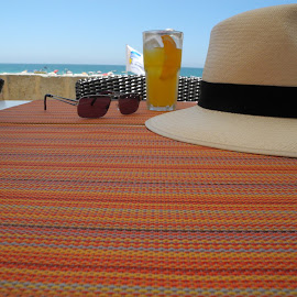 Resting from the travels. by Simon Matthews - Food & Drink Alcohol & Drinks ( vacation, the algarve, portugal, beach bar, drinks,  )